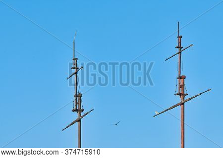 Sailing Mast Of Ship, Copy Space. Sailing Vessel Main Topgallant Mast With Crows Nest. Old Frigate W