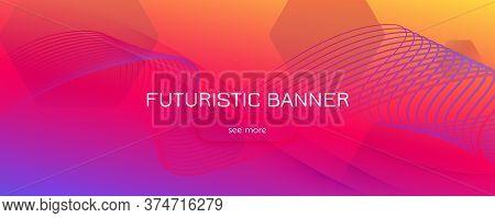 Bright Fluid Shape. Flow Abstract Stripes. Vector Geometric Lines. Technology Fluid Shape. Modern Ba