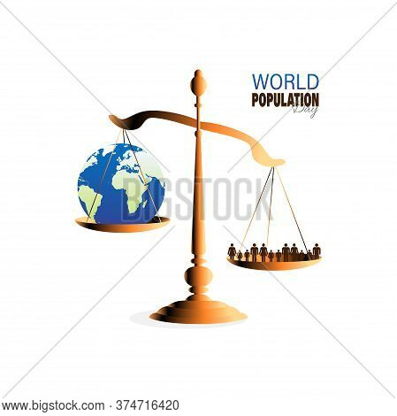 Vector Illustration Of World Population Day 11 July, Which Seeks To Raise Awareness Of Global Popula