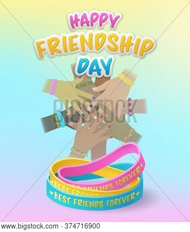 Happy Friendship Day With Diverse Stacked Hands Above Colorful Friendship Bracelets On A Pink, Blue