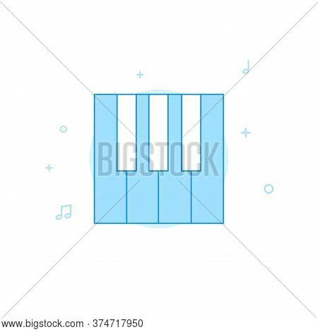 Pianist, Piano Player, Piano Keys Vector Icon. Flat Illustration. Filled Line Style. Blue Monochrome