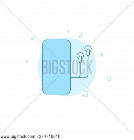 Smartphone With Earphones Vector Icon. Flat Illustration. Filled Line Style. Blue Monochrome Design.