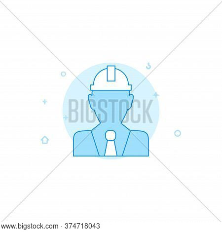 Civil Engineer, Developer In Hard Hat Vector Icon. Flat Illustration. Filled Line Style. Blue Monoch
