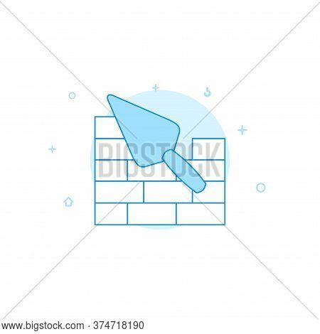 Trowel And Brickwork Vector Icon. Flat Illustration. Filled Line Style. Blue Monochrome Design. Edit