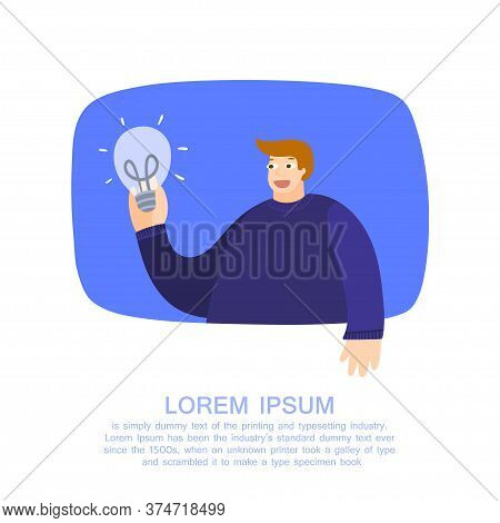 Creativity Concept. Man Holding A Lamp As A Symbol Of Ideas. Creative Problem Solving. Result Creati