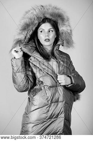 Staying Beautiful Any Season. Girl In Puffed Coat. Faux Fur Fashion. Flu And Cold. Seasonal Fashion.