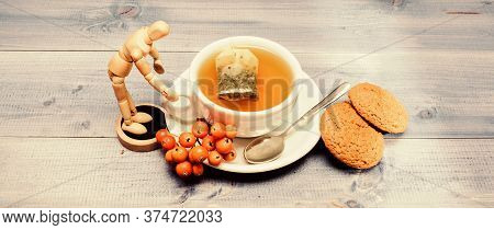 Cup Of Tea On Blue Background Close Up. Gourmet Delicious Taste. Cafe Menu. Berry Tea. Ceramic Cup H
