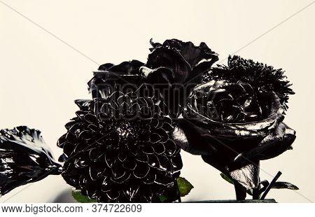 Eternal Beauty. Botany Concept. Forging And Sculpture. Beautiful Black Silver Flower. Floral Shop. M