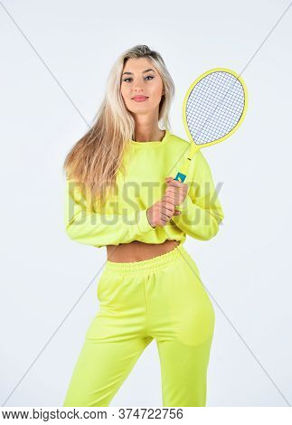 Play Game. Sport For Health. Girl Hold Tennis Racket In Hand. Tennis Club Concept. Active Leisure An