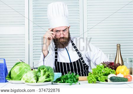 Culinary Challenge. Chef Handsome Hipster. Get Ready. Man Bearded Chef Getting Ready Cooking Delicio