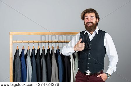 Stylish Business Man At Workspace. Fashion Design Studio. Male Fashion Designer. Individual Measures