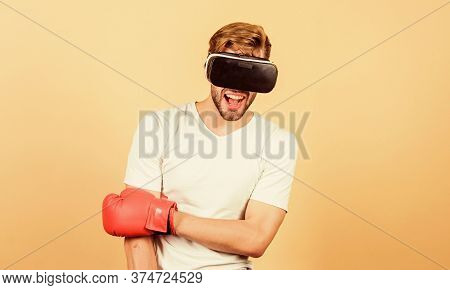 Sport Is Our Life. Modern Gadget. Training Boxing Game. Vr Boxing. Future Innovation. Man In Vr Glas