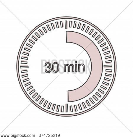 A Clock Icon Indicating A Time Interval Of 30 Minutes. Thirty Minutes On The Clock Cartoon Style On