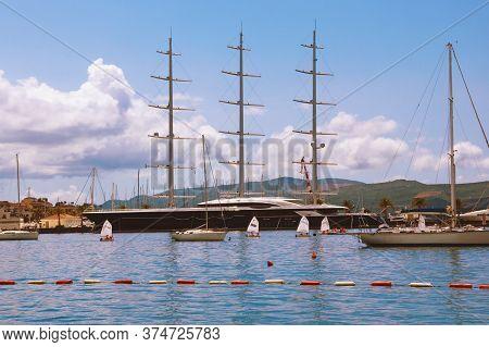 Tivat City, Montenegro - June 13, 2020:  Marina Porto Montenegro With Sailing Yacht Black Pearl - On