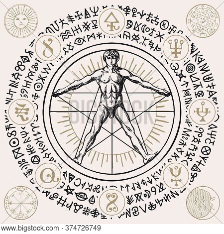 Illustration With A Human Figure Like Vitruvian Man By Leonardo Da Vinci, Alchemical And Masonic Sym