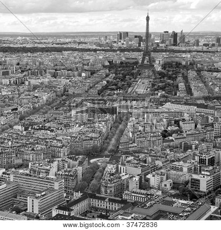 Aerial View Of Paris Black And White