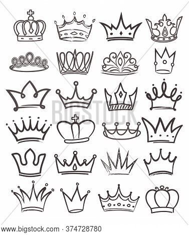 Large Set Of 24 Black And White Line Drawn Royal Crowns In Assorted Designs, Vector Illustration