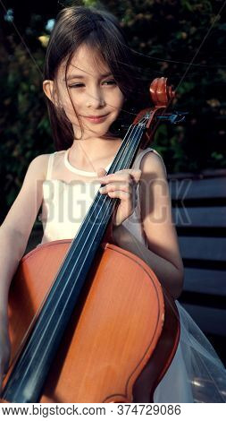 Beautiful Girl In A Pink Dress Sits On A Bench With A Cello