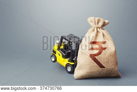 A Forklift Cannot Lift A Indian Rupee Money Bag. Stimulating Economy. Strongest Financial Assistance