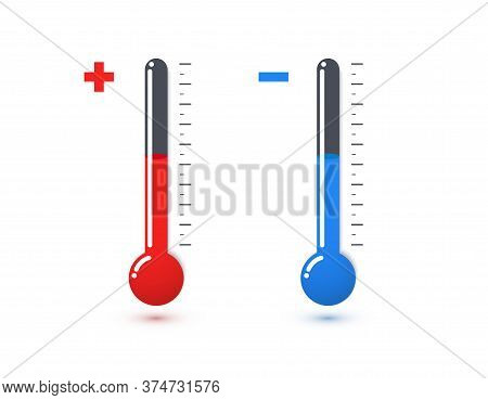 Red And Blue Mercury Thermometers Vector Illustration. Hot And Cold Temperature Sensor Icons. Chemic
