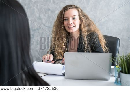 Friendly Business Woman Interviewing New Applicant Candidate For Marketing Team Staff For Her Team I