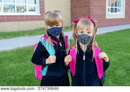 Kids Wearing Cotton Mask And Backpacks Protect And Safety From Coronavirus For Back To School, Two S