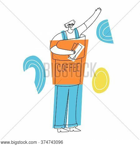 Vector Flat Illustration Male Promoter, Animator, Who Is Dressed In Life Size Doll. It Attracts Cust