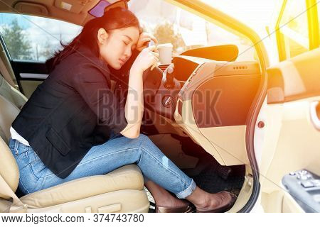 Tired Young Woman Fall Asleep In Her Car