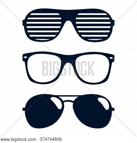Glasses Silhouette. Retro Glasses, Hipster Or Geek Plastic Eye Optic Lens Frame Accessory Design. Is
