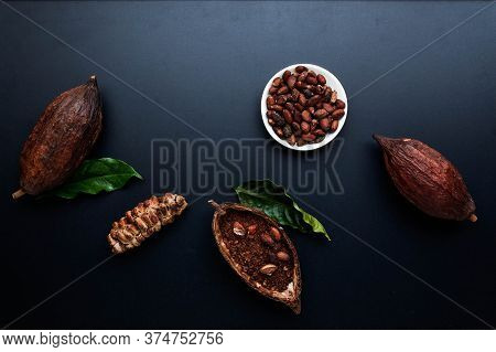 Dry Cocoa Pod With Cocoa Beans And Cocoa Powder Black Texture Background, Flat Lay, Space