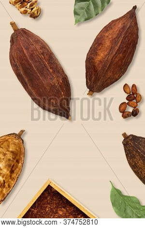 Cocoa Pods And Cocoa Beans With Cocoa Leaves On A Brown Background, Flat Lay Food Concept