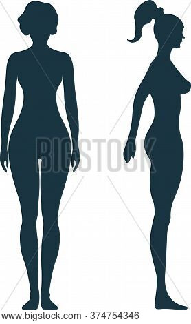 Female Anatomy Human Character, Woman People Dummy Front And View Side Body Silhouette, Isolated On