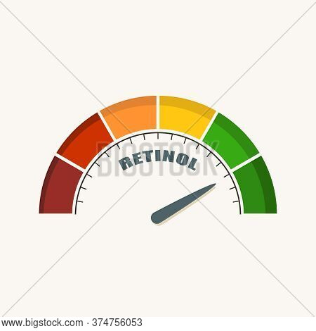 Scale With Arrow. The Vitamin A Retinol Measuring Device. Sign Tachometer, Speedometer, Indicator.