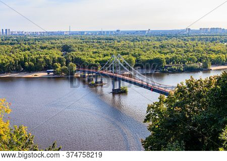 View On Pedestrian Bridge Across The Dnieper River In Kiev, Ukraine