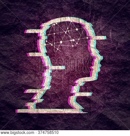 Glitched Human Portrait. Frame Design. Distorted Glitch Style Modern Background. Mental Health Conce