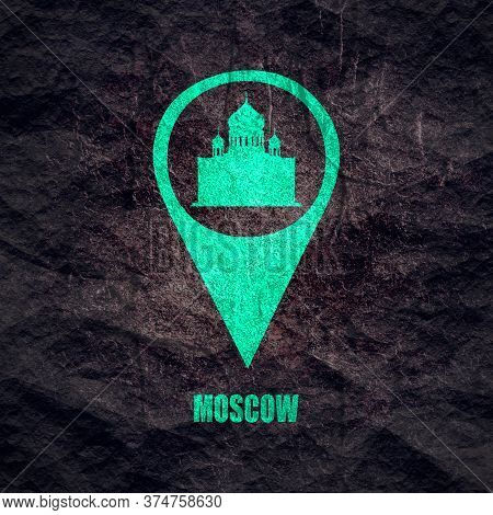 Cathedral Of Christ The Savior In Moscow. Simple Silhouette In Location Pointer