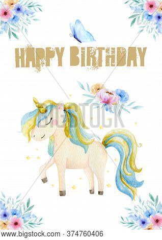 Hand Drawn Greeting Card White Cute Watercolor Unicorn And Flowers Clipart. Nursery Unicorns Illustr