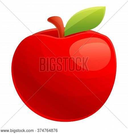 Red Eco Apple Icon. Cartoon Of Red Eco Apple Vector Icon For Web Design Isolated On White Background
