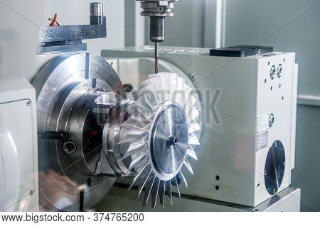 Cnc Metal Cutting Machine Makes Turbine Wheel.