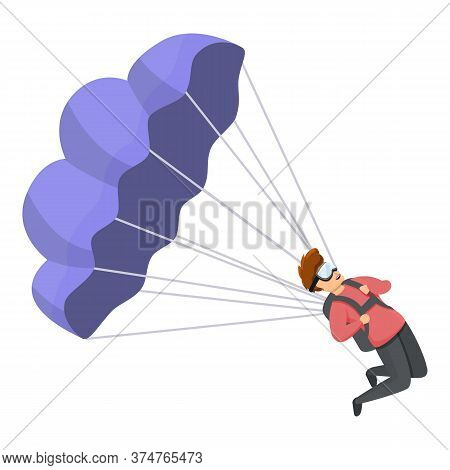 Young Parachuter Icon. Cartoon Of Young Parachuter Vector Icon For Web Design Isolated On White Back