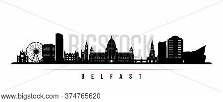 Belfast Skyline Horizontal Banner. Black And White Silhouette Of Belfast, Northern Ireland. Vector T