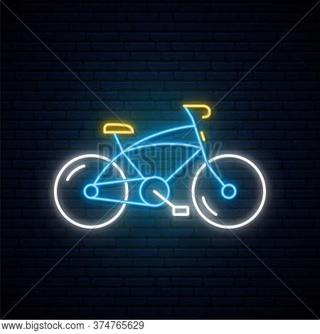 Neon Bicycle Sign. Glowing Neon Mountain-bicycle Emblem On Dark Brick Wall Background. Bright Light