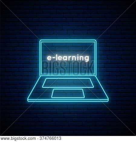 E-learning Neon Sign. Online Education Outline Emblem. Neon Signboard With Bright Blue Laptop Icon.