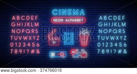 Cinema And Alphabet Neon Sign Set. Glowing Neon Popcorn Box, Clapperboard, 3d Glasses, Projector, Fi