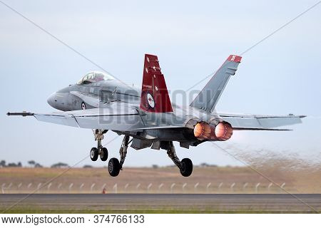 Avalon, Australia - February 28, 2015: Royal Australian Air Force (raaf) Mcdonnell Douglas F/a-18a H