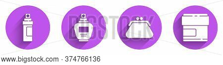 Set Perfume, Perfume, Clutch Bag And Cream Or Lotion Cosmetic Tube Icon With Long Shadow. Vector