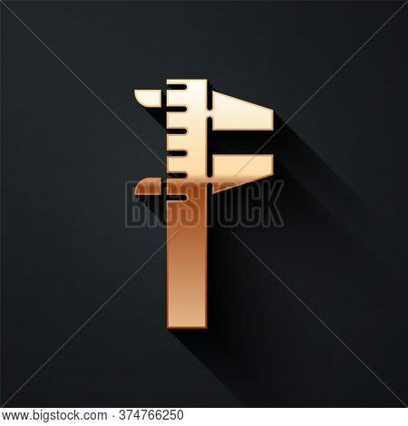 Gold Calliper Or Caliper And Scale Icon Isolated On Black Background. Precision Measuring Tools. Lon