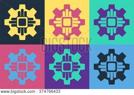 Pop Art Processor Icon Isolated On Color Background. Cpu, Central Processing Unit, Microchip, Microc