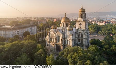 Aerial View Of The Cathedral Of The Assumption On Sunrise, Varna Bulgaria. Byzantine Style Church Wi