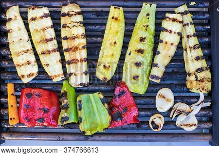 Assorted Vegetables On Grill.  Chef Prepares Grilled Vegetables. Top Down